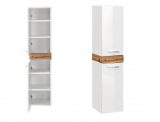 Tall Wall Mounted Bathroom Cabinet Unit Tallboy White Gloss Oak finish - Aria (ARIA_800)