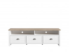 Country Living Room Furniture Set with TV Unit Glass Cabinet Tallboy White/Oak Finish - Cannet (S351-LIV SET 1)