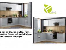Light Dove Grey Gloss Kitchen Units Corner Set of 12 Cabinets Larder Cupboard Oven Housing - Luna (STO-LUNA-SET-12UNITS-40SL-DK-SZ-SZP)
