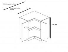 Free Standing Cream Gloss Kitchen Cabinet Corner 900 Base 90cm Unit - Modern Luxe (STO-MODERN_LUX-DRP-P/L-VAN-KP01)