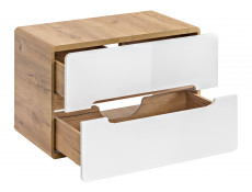 Modern White Gloss / Oak Wall Vanity Sink Bathroom Cabinet 80cm Counter Top 80cm Unit with Drawers - Aruba