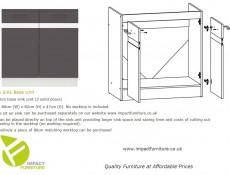 Modern Free Standing Grey/White Gloss Kitchen Cabinets Cupboards Set of 7 Base & Wall Units - Junona
