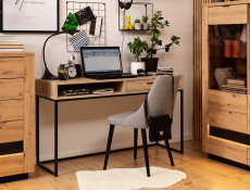 Industrial Loft Style Laptop Desk Table with Drawer for Home Office Study Metal Legs Light Oak Effect Finish- Gamla