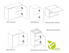 Budget Kitchen Set of 5 Cabinets Units in Sonoma Oak – Nela 1