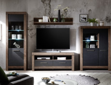 Modern Living Room TV Cabinet Media Bench Storage Cabinet Unit with Drawers Oak - Balin