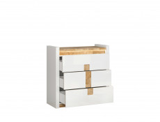 Modern White Gloss Large Chest of 3 Drawers Storage Unit with LED Lights & Oak finish top - Alameda