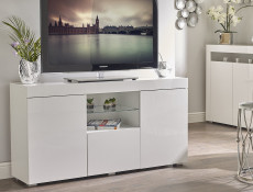 Modern Lowboard Sideboard Glass Display Cabinet Buffet White High Gloss - Lily