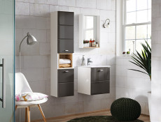 Bathroom Vanity Cabinet 40cm Set Wall Mounted with Sink Grey Gloss - Finka (FINKA_821_SET _GREY)