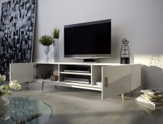 Sweden 2 - Retro Nordic TV Unit White Gloss Oak