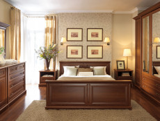 Four Door Wardrobe with Mirror Vintage Traditional Bedroom Chestnut finish - Kent
