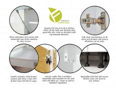 White High Gloss Kitchen Base Drawer Cabinet Cupboard 60cm Free Standing Floor 600 Unit  - Rosi (STO-ROSI-D60-S/3-BI/BIP-KP01)