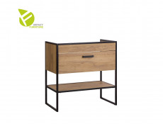Modern Industrial Oak & Black Steel Vanity Drawer Bathroom Sink Cabinet Loft Unit Free Standing 80cm - Brooklyn