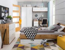 Modern Bedside Cabinet Drawer Storage Unit 50cm White Gloss/Oak- Zele (S383-KOM1S-DWO/BIP-KPL01)