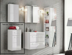 Modern Wall Hung Base Cabinet with Drawer Bathroom Storage Unit White Matt/White Gloss - Twist