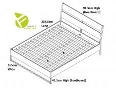 Industrial European King Size Bed Frame with Wooden Bed Slats Openwork Headboard Metal Legs Light Oak Effect Finish - Gamla
