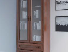 Glass Display Cabinet Classic Style Traditional Living Room Furniture Chestnut Finish - Kent (S10-EWIT2d2s-KA-KPL02)