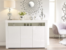 Large White High Gloss Sideboard Modern 3 Door Unit with Display Cabinet Shelf Blue LED Light - Lily