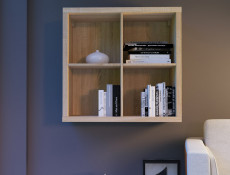 Cube Box Wall Shelf Cabinet White Oak or Wenge dark wood - Nepo