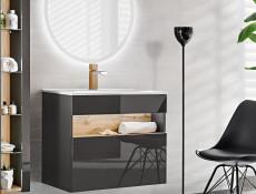 Modern Wall Vanity Bathroom Cabinet Unit with Sink Grey Matt/Grey Gloss LED Light - Bahama