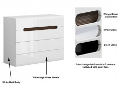 Modern White Gloss Wide Chest of 4 Drawers Unit with White/Wenge/Black Gloss Insert - Azteca Trio (S504-KOM4S/8/11-BI/BIP-KPL01)