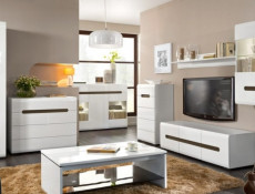 Tallboy Modern Tall Chest of Drawers White High Gloss or Oak - Azteca (KOM5S/10/6)