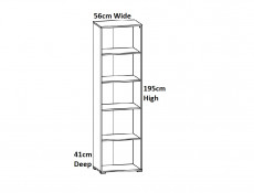 Modern Tall Narrow Bookcase Open Shelf Cabinet Storage Unit Riviera Oak - Zele