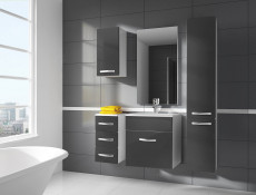 Modern Bathroom Furniture Set Grey High Gloss Wall Hung Units with Sink 600mm - Coral (Coral SET YRSA Grey)