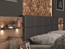 Elegant Super King Size Bed Frame Built-in Bedside Wall Cabinets USB LED Lighting Oak/Black - Kassel (L99-LOZ/180/A-DMON/DCA-KPL0+D15-WKL180/L21)