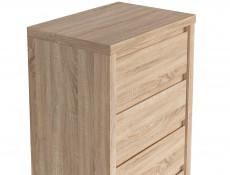 Modern Tallboy 5 Drawer Tall Slim Storage Chest of Drawers in Sonoma Oak - Kaspian