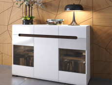 Glass Sideboard Dresser Display Cabinet LED Lights White Gloss Oak finish - Azteca