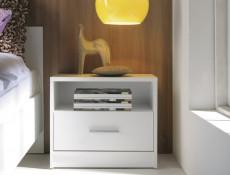 Modern 1 Drawer Bedside Cabinet Side Table Drawer Unit White Matt Effect Finish - Nepo