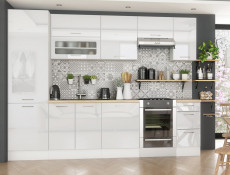 White High Gloss Kitchen Cabinets Cupboards 8 Unit Set including Tall Larder Complete 300cm - Rosi (STO-ROSI_SET-8UNITS_3.0-BI-BIP)