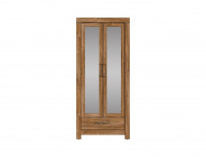 Modern Tall Oak Effect Mirrored Storage Cabinet Shelving Unit with Drawer for Hallway Entrance Hall  - Gent (M244-REG2L1S/20/9-DAST)