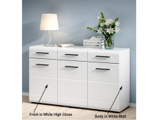 Modern Wide Sideboard Cabinet Storage Unit 150cm White/White Gloss - Fever (S182-KOM3D3S/9/15-BIP/CA-KPL01)