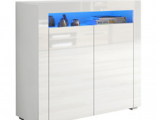 Square Small Sideboard Display Cabinet White High Gloss with RGB LED Light - Lily (KOM2D+RGBLed)