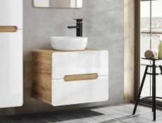 Modern White Gloss / Oak Bathroom Furniture Set: Tallboy Wall Vanity 60cm Countertop Sink Unit - Aruba (ARUBA_828-SET-SMILE)