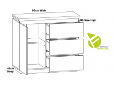 Modern Sideboard Cabinet Storage Unit Chest of 3 Drawers White Gloss / Oak finish - Erla (S426-KOM1D3S-BI/DMV/BIP-KPL01)