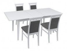 Classic White Matt Elegant Scratch Resistant Dining Chair with Grey fabric Seat and Back Cushions - Idento