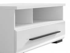 Modern 1-Drawer Living Room Media Bench TV Cabinet Storage Unit 100 cm White/White Gloss - Fever (S182-RTV1S/3/10-BIP/CA-KPL01)