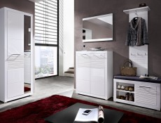 Two Door Cabinet Cupboard Storage Modern Hallway White Gloss - Flames