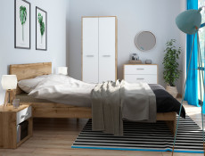 Modern 5 Part Bedroom Furniture Set King Size Bed Frame Wardrobe White Matt/Oak Finish - Matos