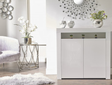 Square Small White High Gloss Sideboard Modern 2 Door Cabinet Unit - Lily (HOF-LILY-2D_BI-BIP-KP01)