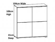Modern Square Small 4-Door Sideboard Unit Storage Cabinet White Gloss/Oak - Zele (S383-KOM4D-DWO/BIP-KPL01)