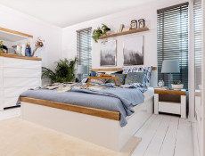 Scandinavian Super King Size Bed Frame with Bed Slats & Headboard White/Oak - Holten