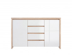 Double Bedroom Furniture Set Sonoma Oak White Gloss - Kaspian (KASP DBL BED SET DSO/BI)