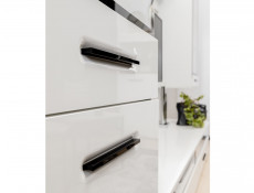 Modern Slim White Gloss Wall Mounted Storage Cabinet Unit with Black Handles - Assen