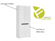 Modern Bookcase Shelving Unit Floor Standing Hallway Storage Cabinet White/White Gloss- Fever