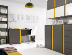 Modern Grey Matt 5 Drawers Chest of Drawers Right Insert Kids Bedroom Office Storage Unit - Graphic (S343-KOM5SP/C-SZW-KPL01)