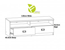 Urban TV Stand Entertainment Cabinet Unit with 2 Drawers 120cm Media Table Oak Effect and Grey Finish - Malcolm