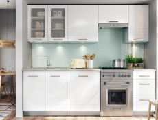 White/Light Grey Kitchen Wall Cabinet with Glass Doors 80cm Cupboard Unit - Paula (PAULA WHITE WS80)